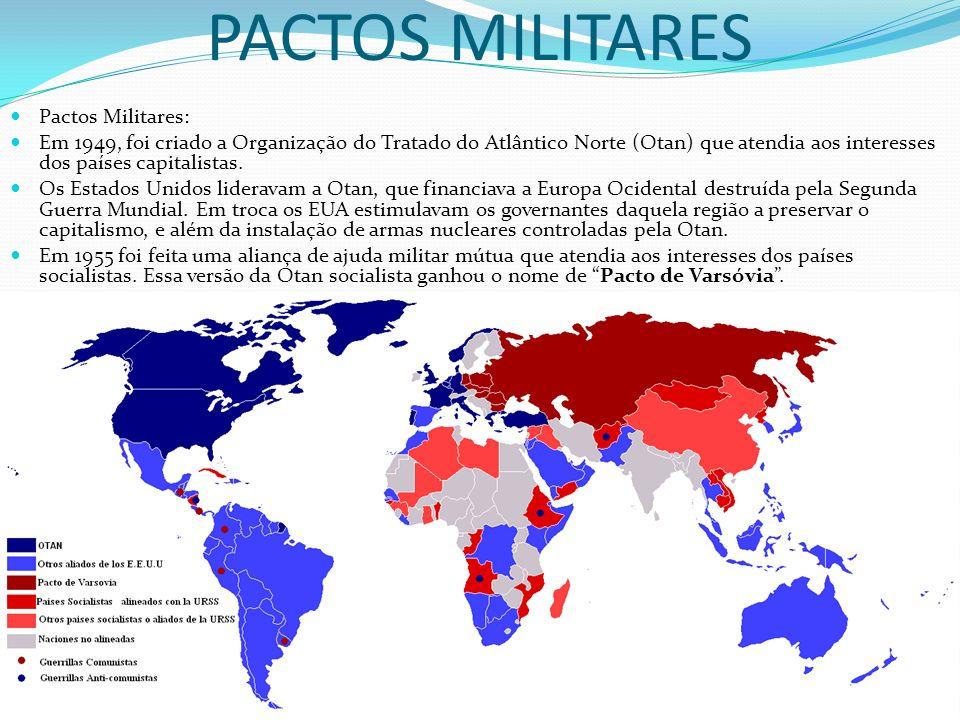 PACTOS MILITARES Pactos Militares: Em 1949, foi criado a Organização do Tratado do Atlântico Norte (Otan) que atendia aos interesses dos países capita