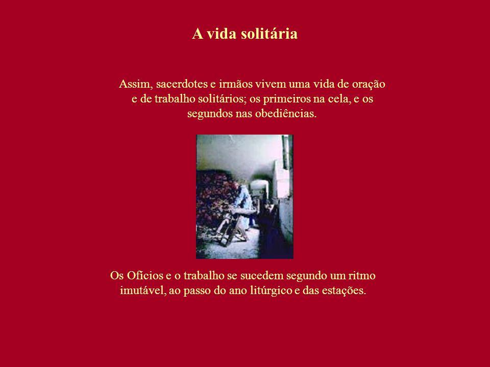 A vida solitária Assim, sacerdotes e irmãos vivem uma vida de oração e de trabalho solitários; os primeiros na cela, e os segundos nas obediências. Os