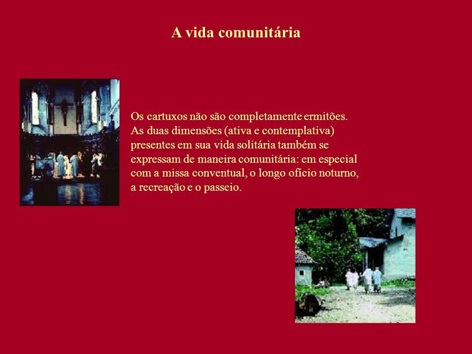 A vida comunitária Os cartuxos não são completamente ermitões. As duas dimensões (ativa e contemplativa) presentes em sua vida solitária também se exp