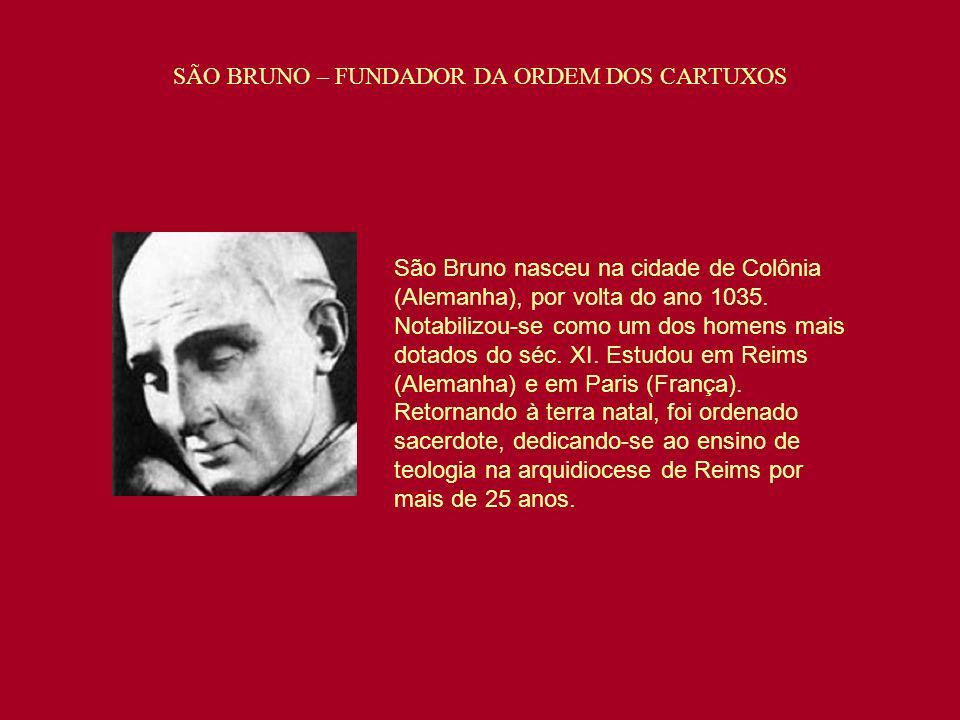 São Bruno nasceu na cidade de Colônia (Alemanha), por volta do ano 1035. Notabilizou-se como um dos homens mais dotados do séc. XI. Estudou em Reims (