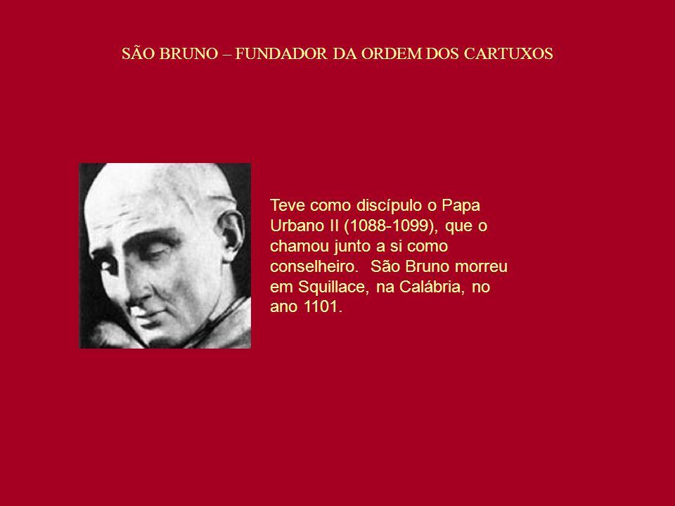 Teve como discípulo o Papa Urbano II (1088-1099), que o chamou junto a si como conselheiro. São Bruno morreu em Squillace, na Calábria, no ano 1101. S