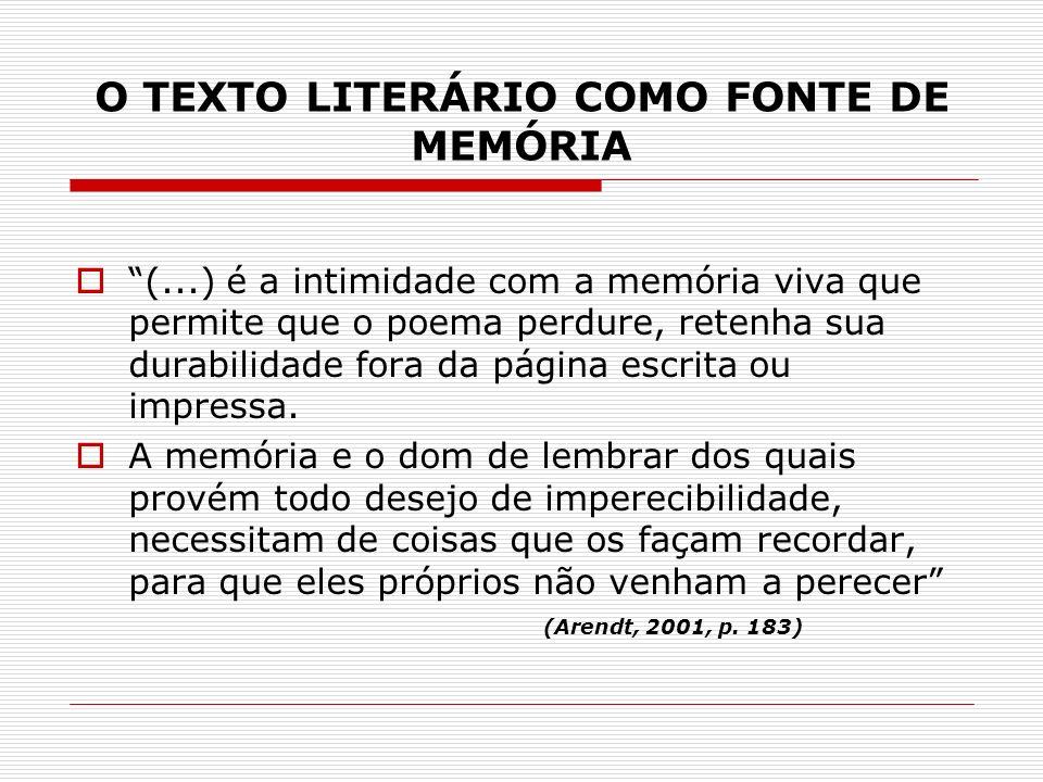 O TEXTO LITERÁRIO COMO FONTE DE MEMÓRIA (...) é a intimidade com a memória viva que permite que o poema perdure, retenha sua durabilidade fora da pági