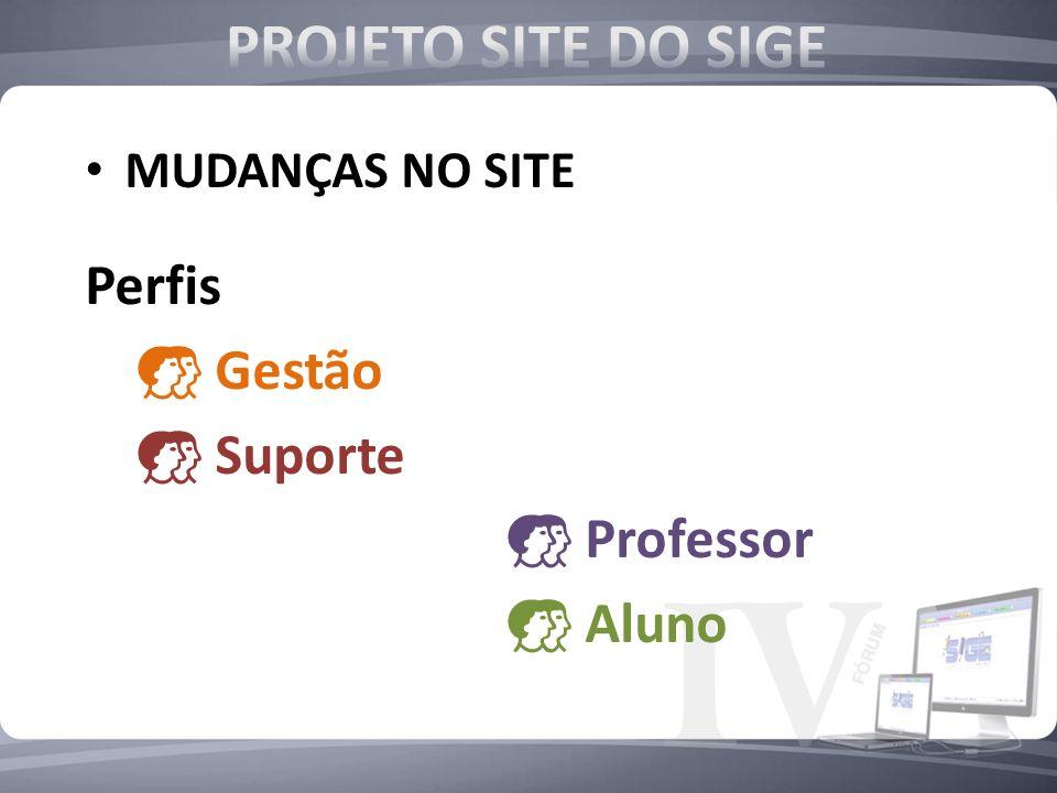 MUDANÇAS NO SITE Perfis Gestão Suporte Professor Aluno