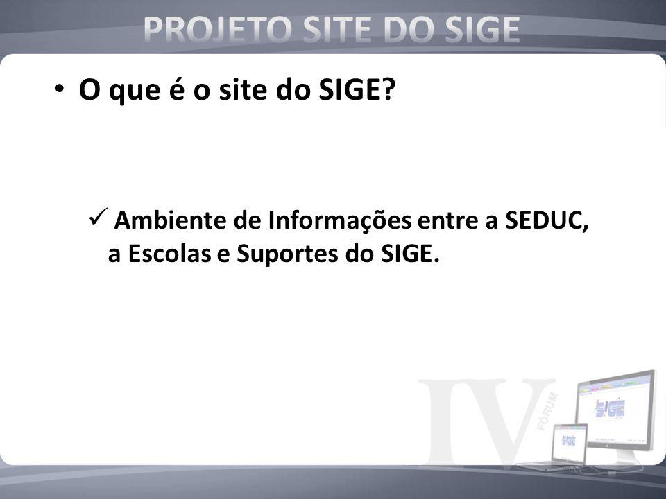 O que é o site do SIGE? Ambiente de Informações entre a SEDUC, a Escolas e Suportes do SIGE.