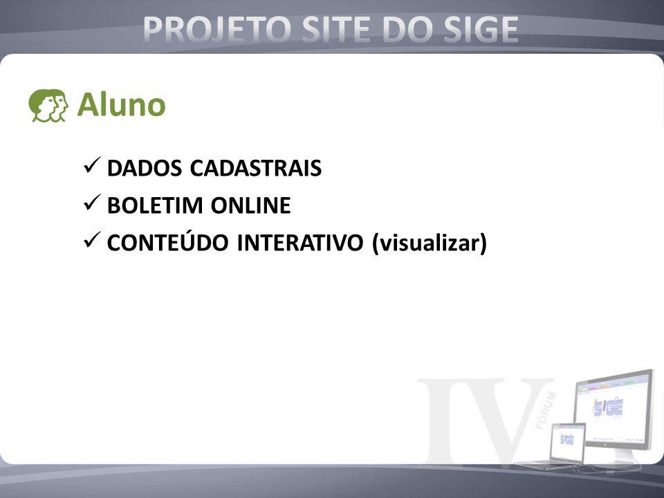 DADOS CADASTRAIS BOLETIM ONLINE CONTEÚDO INTERATIVO (visualizar) Aluno