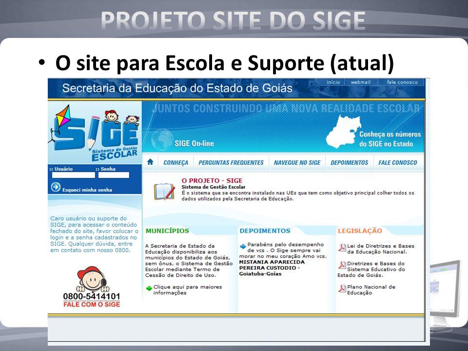 O site para Escola e Suporte (atual)