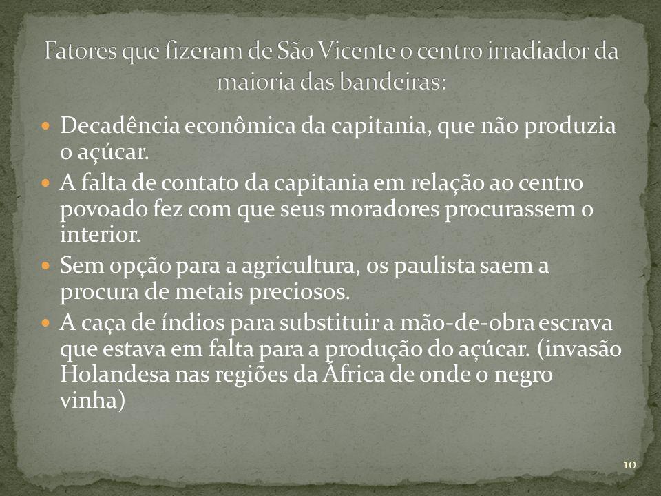 Decadência econômica da capitania, que não produzia o açúcar. A falta de contato da capitania em relação ao centro povoado fez com que seus moradores