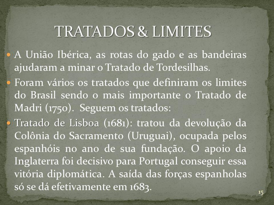 A União Ibérica, as rotas do gado e as bandeiras ajudaram a minar o Tratado de Tordesilhas. Foram vários os tratados que definiram os limites do Brasi