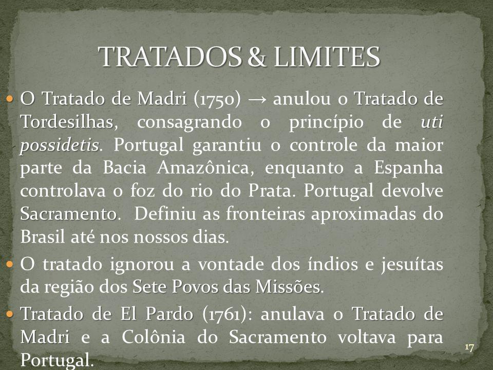 O Tratado de Madri Tratado de Tordesilhasuti possidetis Sacramento O Tratado de Madri (1750) anulou o Tratado de Tordesilhas, consagrando o princípio