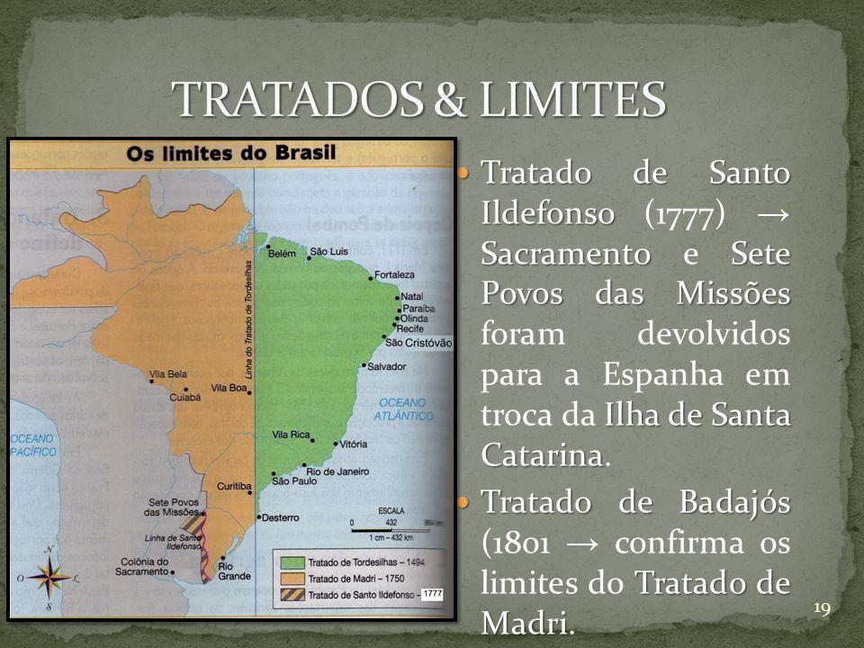 Tratado de Santo Ildefonso SacramentoSete Povos das Missões Ilha de Santa Catarina Tratado de Santo Ildefonso (1777) Sacramento e Sete Povos das Missõ