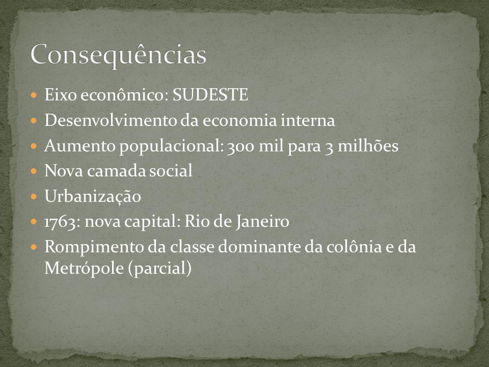 Eixo econômico: SUDESTE Desenvolvimento da economia interna Aumento populacional: 300 mil para 3 milhões Nova camada social Urbanização 1763: nova capital: Rio de Janeiro Rompimento da classe dominante da colônia e da Metrópole (parcial)