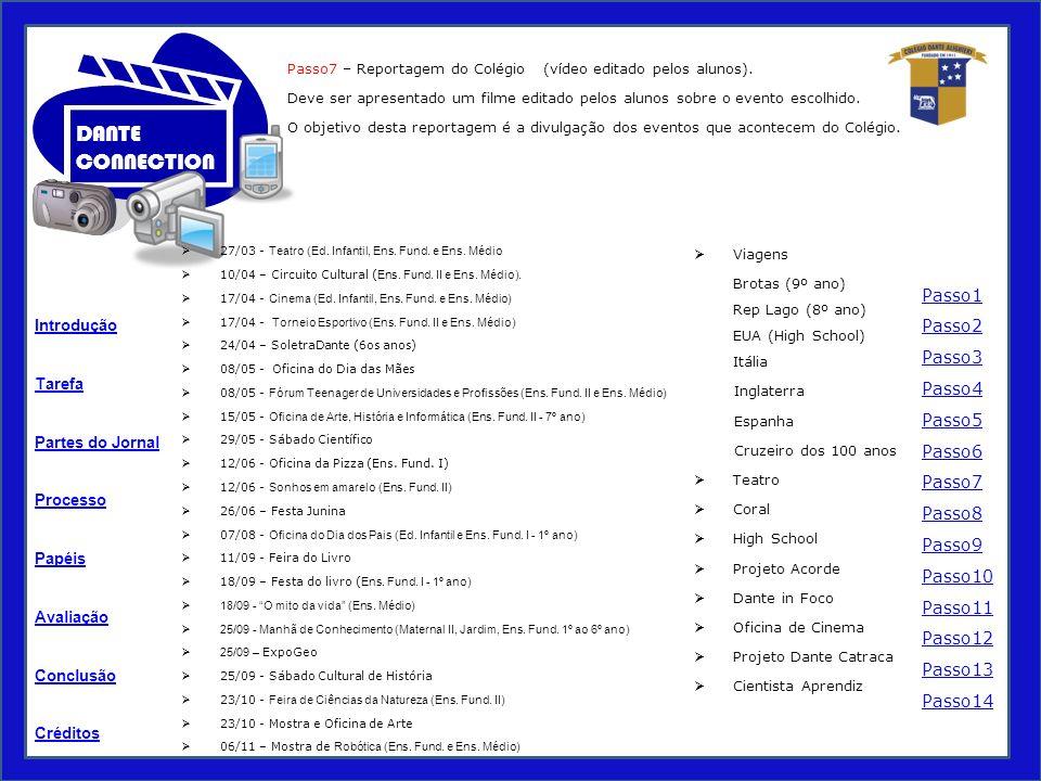 Tarefa Processo Papéis Avaliação Introdução Créditos Partes do Jornal Conclusão DANTE CONNECTION Passo7 – Reportagem do Colégio (vídeo editado pelos alunos).