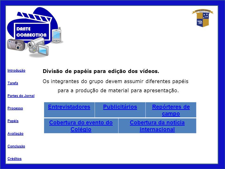 Tarefa Processo Papéis Avaliação Introdução Créditos Partes do Jornal Conclusão DANTE CONNECTION Divisão de papéis para edição dos vídeos.