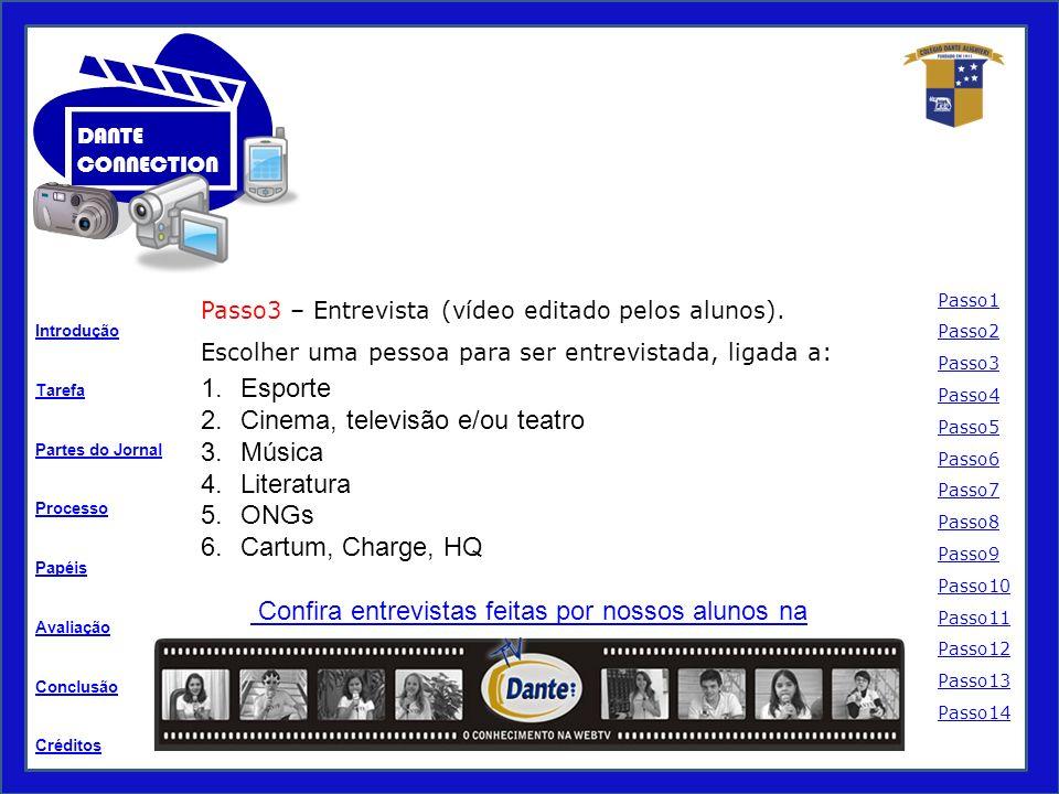 Tarefa Processo Papéis Avaliação Introdução Créditos Partes do Jornal Conclusão DANTE CONNECTION Passo3 – Entrevista (vídeo editado pelos alunos).
