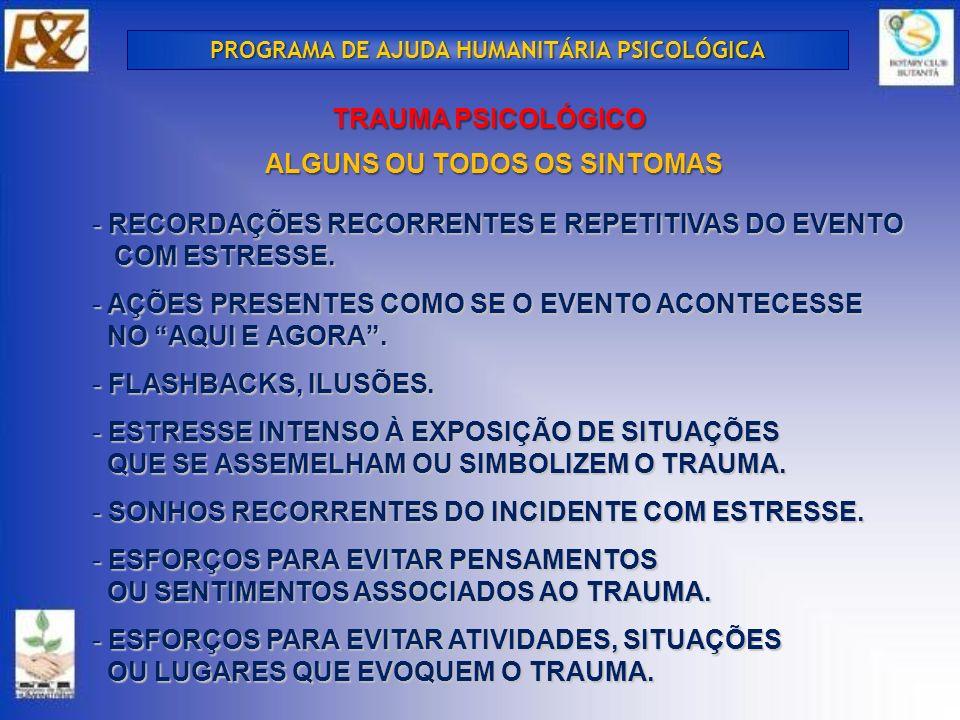 TRAUMA PSICOLÓGICO ALGUNS OU TODOS OS SINTOMAS - RECORDAÇÕES RECORRENTES E REPETITIVAS DO EVENTO COM ESTRESSE.