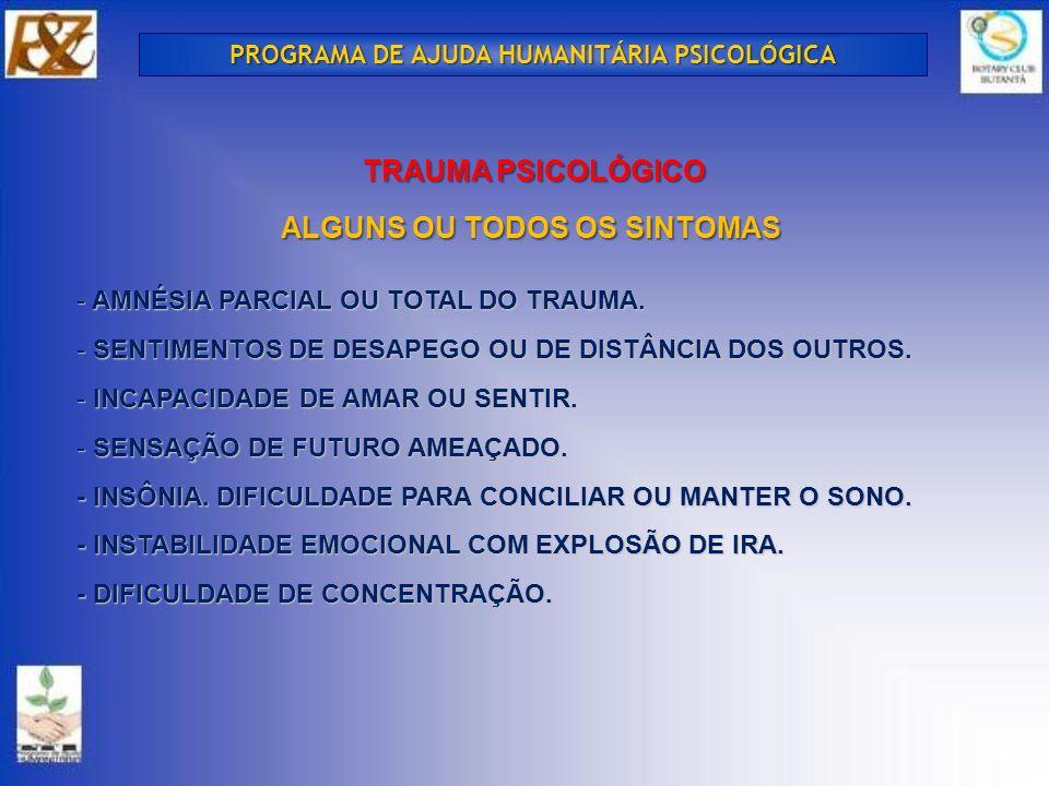 - AMNÉSIA PARCIAL OU TOTAL DO TRAUMA.- SENTIMENTOS DE DESAPEGO OU DE DISTÂNCIA DOS OUTROS.
