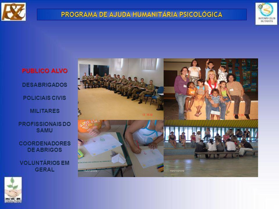 OFERECER AOS PROFISSIONAIS QUE TRATAM DE PESSOAS DANIFICADAS PELAS TRAGÉDIAS NATURAIS, RECURSOS TEÓRICO-TÉCNICOS PARA DAR- LHES A ASSISTÊNCIA PSICOLÓGICA NECESSÁRIA PARA ALIVIAR O SOFRIMENTO CAUSADO PELO EVENTO TRAUMÁTICO, PARA QUE ESTE SEJA MELHOR ELABORADO E, ASSIM, EVITAR POSSÍVEIS TRANSTORNOS DE ESTRESSES PÓS TRAUMÁTICOS.