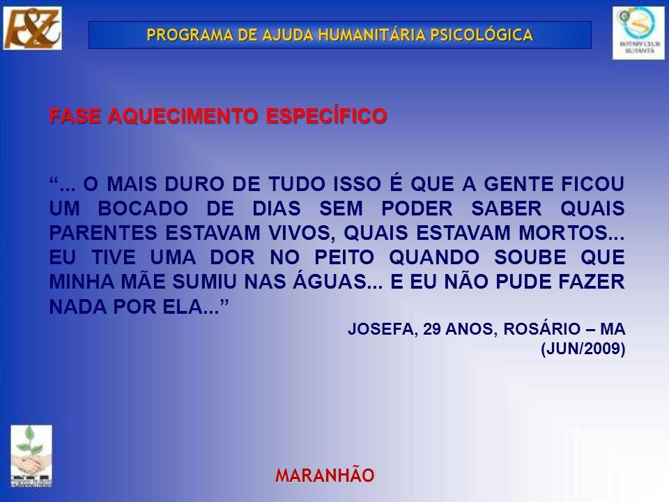 PROGRAMA DE AJUDA HUMANITÁRIA PSICOLÓGICA FASE AQUECIMENTO ESPECÍFICO...