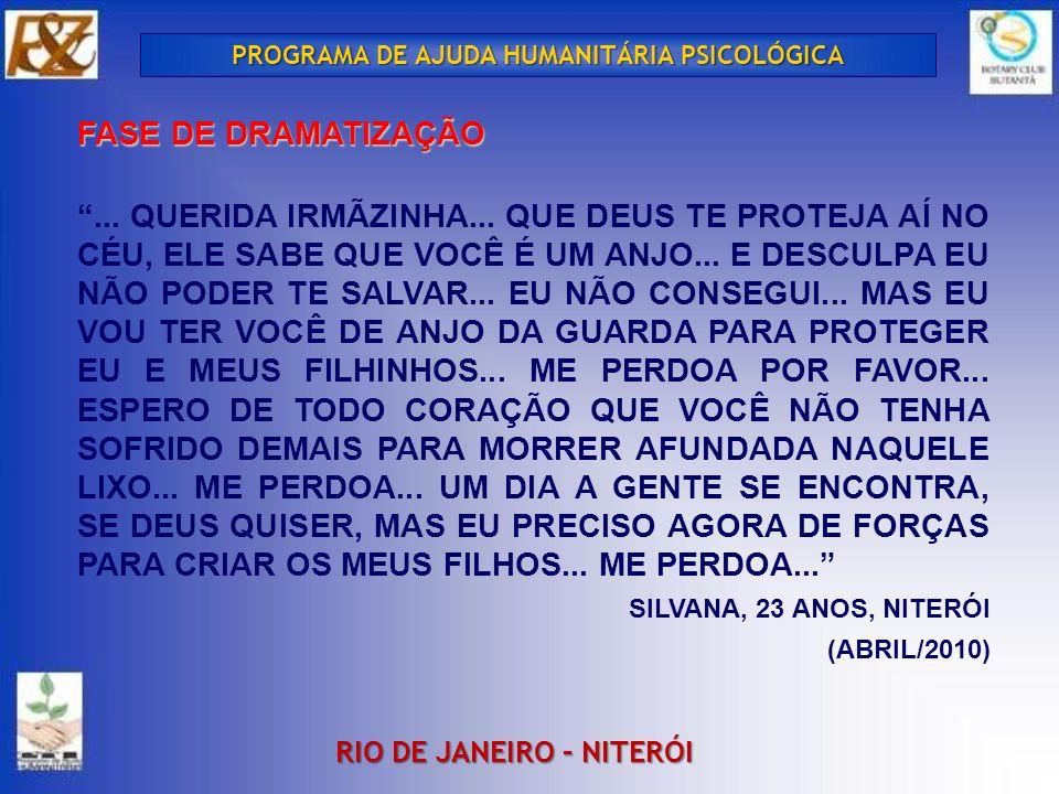 PROGRAMA DE AJUDA HUMANITÁRIA PSICOLÓGICA RIO DE JANEIRO – NITERÓI FASE DE DRAMATIZAÇÃO...