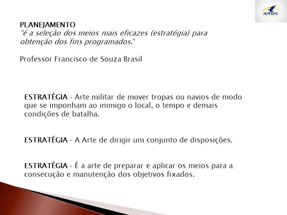 PLANEJAMENTO é a seleção dos meios mais eficazes (estratégia) para obtenção dos fins programados. Professor Francisco de Souza Brasil ESTRATÉGIA – Art