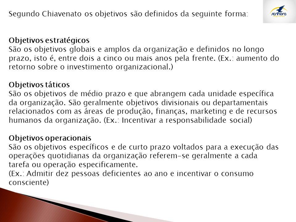 Segundo Chiavenato os objetivos são definidos da seguinte forma: Objetivos estratégicos São os objetivos globais e amplos da organização e definidos n