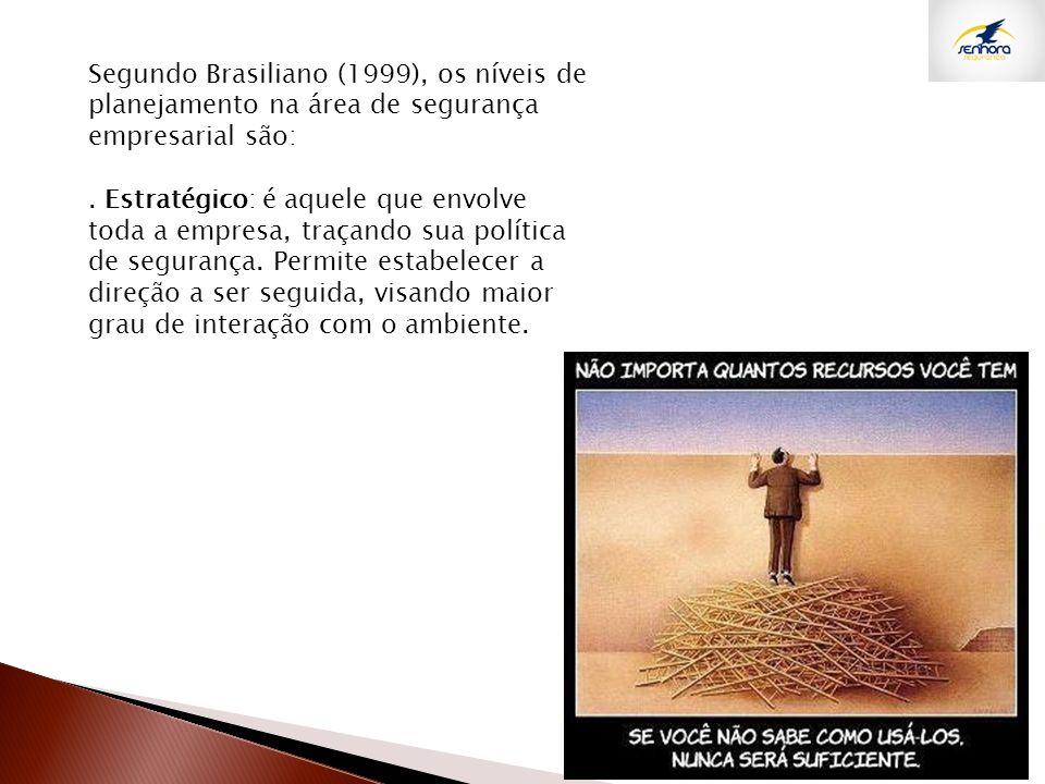 Segundo Brasiliano (1999), os níveis de planejamento na área de segurança empresarial são:. Estratégico: é aquele que envolve toda a empresa, traçando
