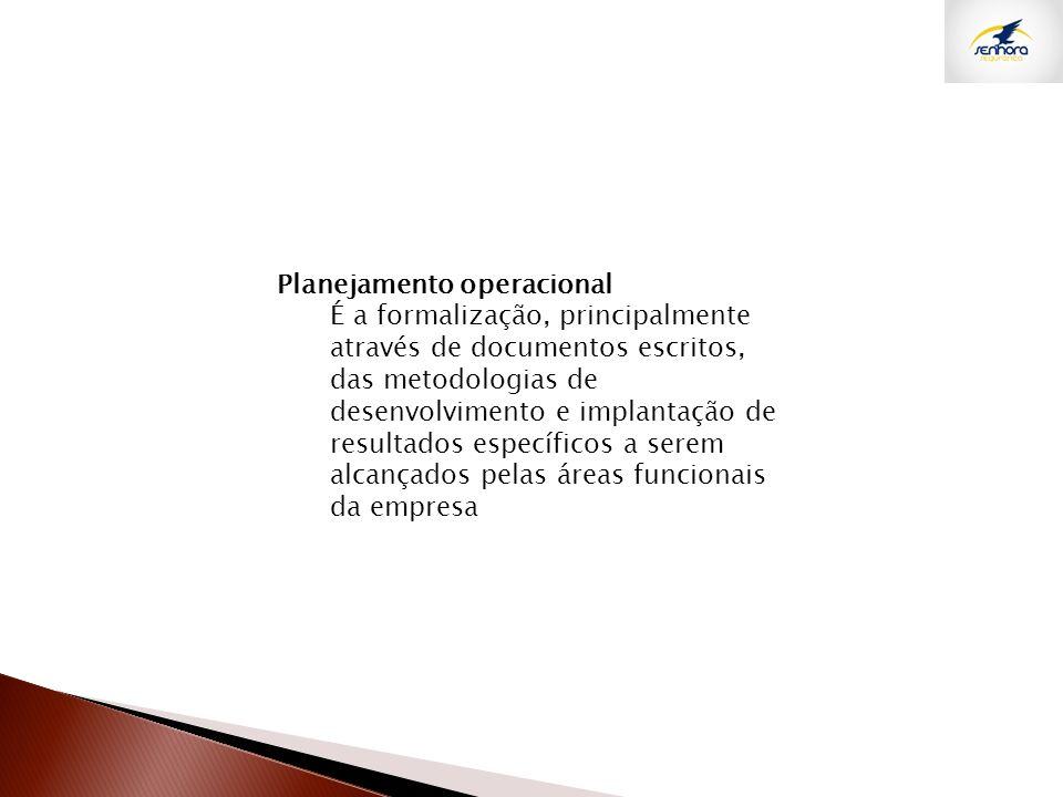 Planejamento operacional É a formalização, principalmente através de documentos escritos, das metodologias de desenvolvimento e implantação de resulta