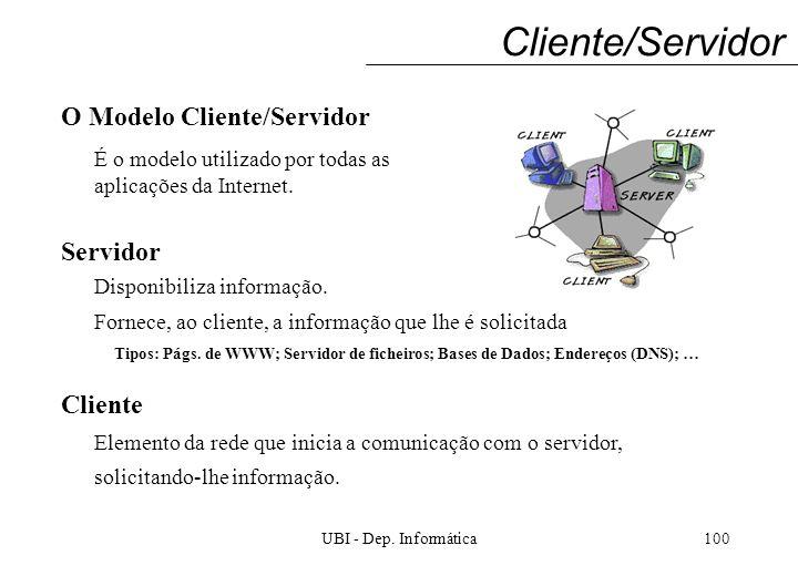 UBI - Dep. Informática100 Cliente/Servidor O Modelo Cliente/Servidor Servidor Cliente Disponibiliza informação. Fornece, ao cliente, a informação que