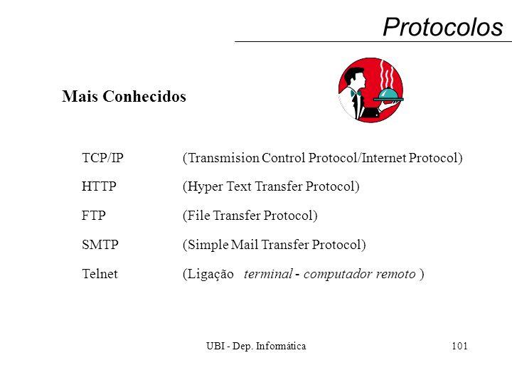 UBI - Dep. Informática101 Protocolos Mais Conhecidos TCP/IP(Transmision Control Protocol/Internet Protocol) HTTP(Hyper Text Transfer Protocol) FTP(Fil