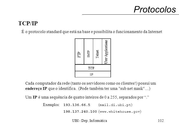 UBI - Dep. Informática102 Protocolos TCP/IP É o protocolo standard que está na base e possibilita o funcionamento da Internet Cada computador da rede