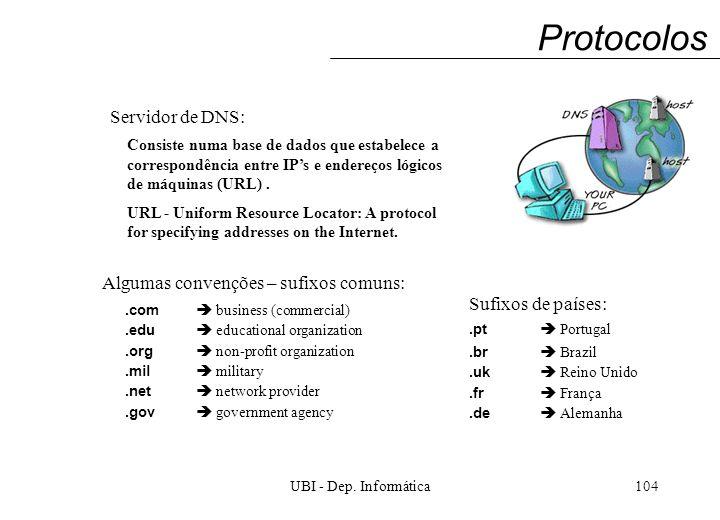 UBI - Dep. Informática104 Protocolos Servidor de DNS: Consiste numa base de dados que estabelece a correspondência entre IPs e endereços lógicos de má