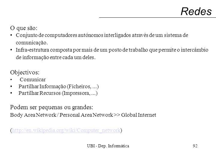 UBI - Dep. Informática92 Redes O que são: Conjunto de computadores autónomos interligados através de um sistema de comunicação. Infra-estrutura compos