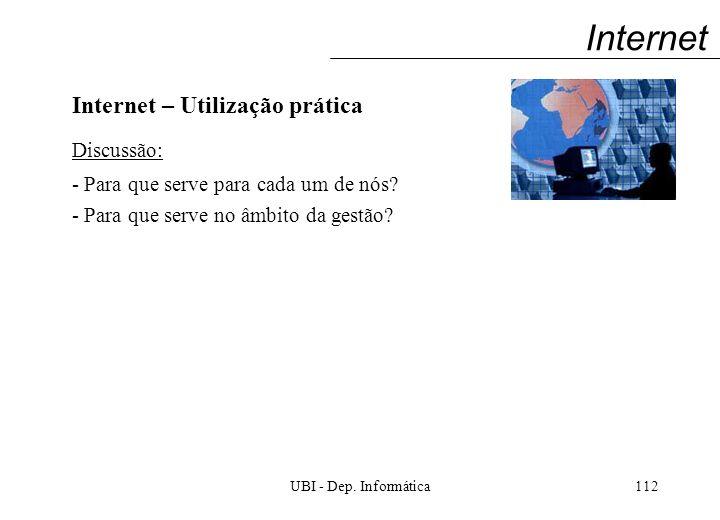 UBI - Dep. Informática112 Internet Internet – Utilização prática Discussão: - Para que serve para cada um de nós? - Para que serve no âmbito da gestão
