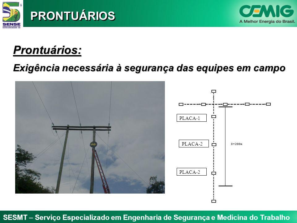 SESMT – Serviço Especializado em Engenharia de Segurança e Medicina do Trabalho Prontuários: Exigência necessária à segurança das equipes em campo PRONTUÁRIOS PLACA-1 PLACA-2