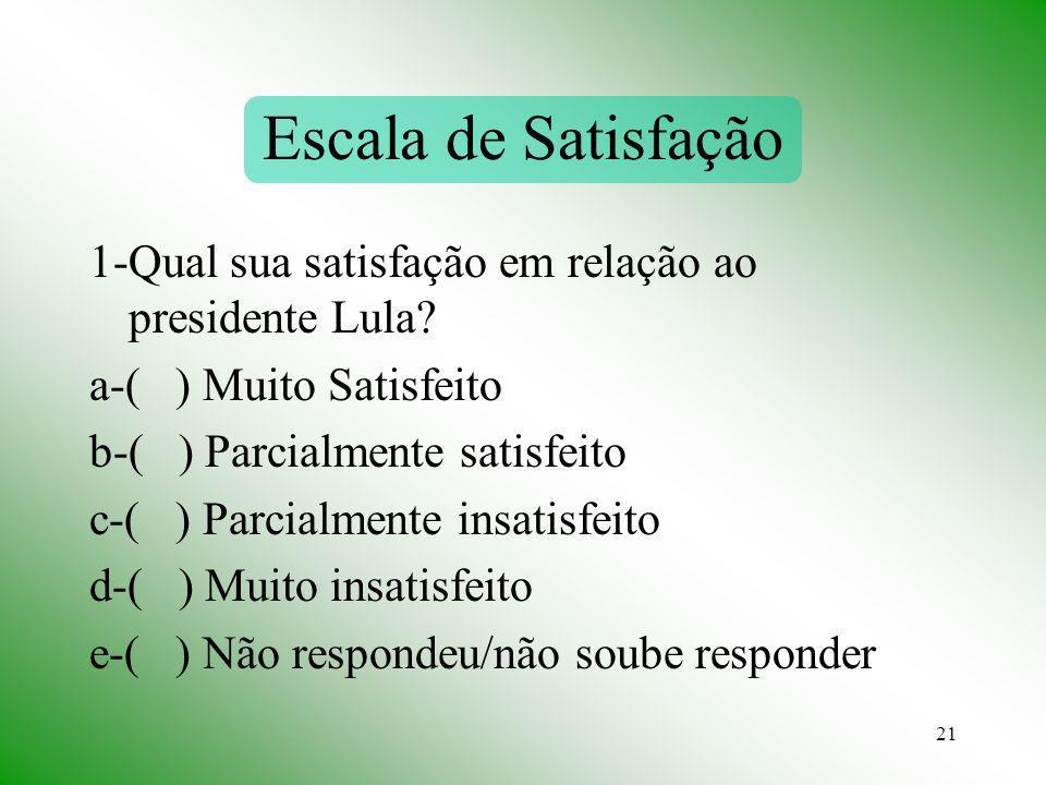 21 Escala de Satisfação 1-Qual sua satisfação em relação ao presidente Lula? a-( ) Muito Satisfeito b-( ) Parcialmente satisfeito c-( ) Parcialmente i
