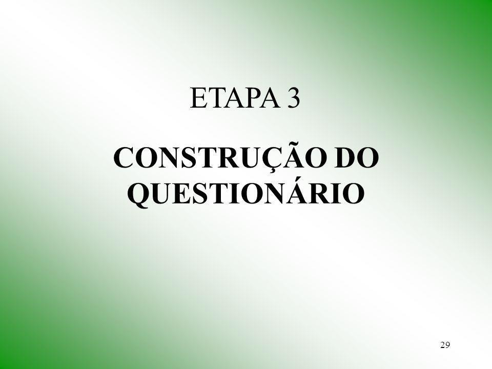 29 CONSTRUÇÃO DO QUESTIONÁRIO ETAPA 3