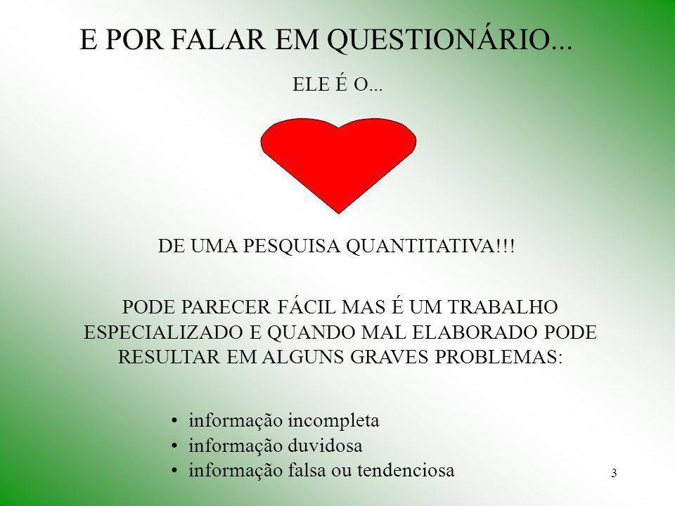 3 E POR FALAR EM QUESTIONÁRIO...ELE É O... DE UMA PESQUISA QUANTITATIVA!!.