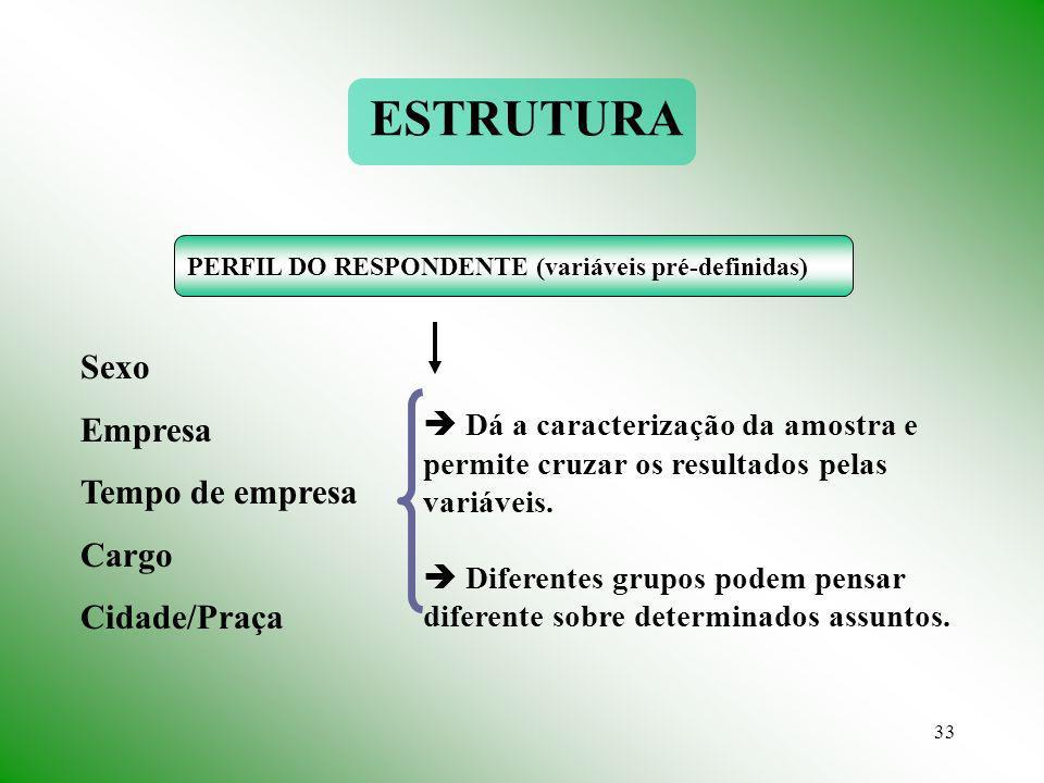 33 PERFIL DO RESPONDENTE (variáveis pré-definidas) Sexo Empresa Tempo de empresa Cargo Cidade/Praça Dá a caracterização da amostra e permite cruzar os resultados pelas variáveis.