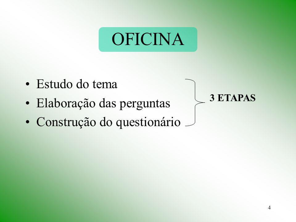 4 OFICINA Estudo do tema Elaboração das perguntas Construção do questionário 3 ETAPAS