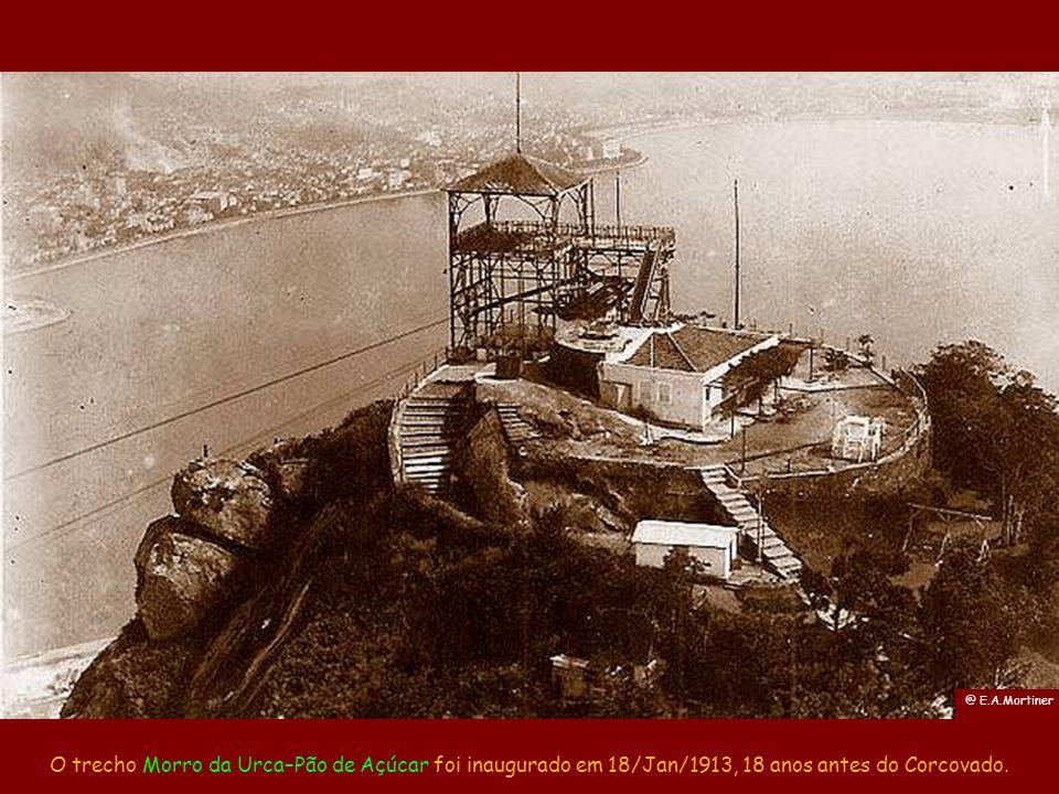 O passo seguinte foi a construção da estação do Pão de Açúcar, a 395 m de altura e usando a mesma técnica. @ Marc Ferrez