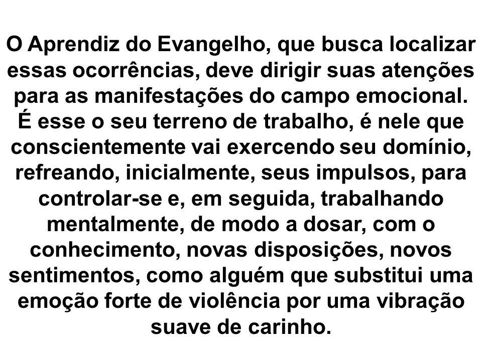 O Aprendiz do Evangelho, que busca localizar essas ocorrências, deve dirigir suas atenções para as manifestações do campo emocional.
