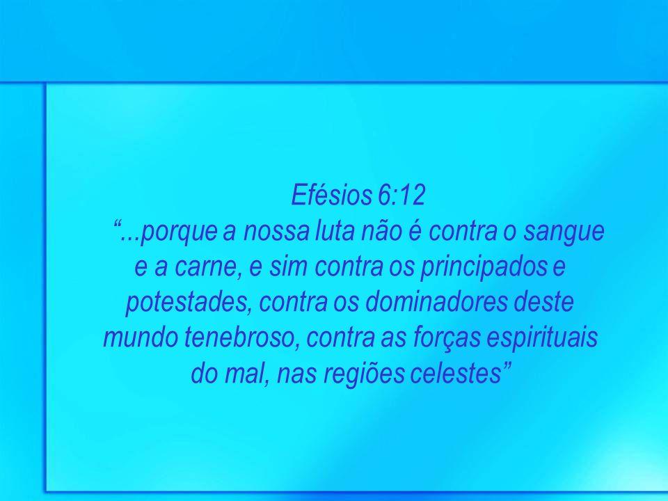 Efésios 6:12...porque a nossa luta não é contra o sangue e a carne, e sim contra os principados e potestades, contra os dominadores deste mundo tenebr