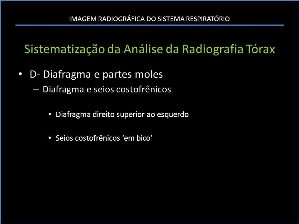 IMAGEM RADIOGRÁFICA DO SISTEMA RESPIRATÓRIO Sistematização da Análise da Radiografia Tórax D- Diafragma e partes moles – Diafragma e seios costofrênic