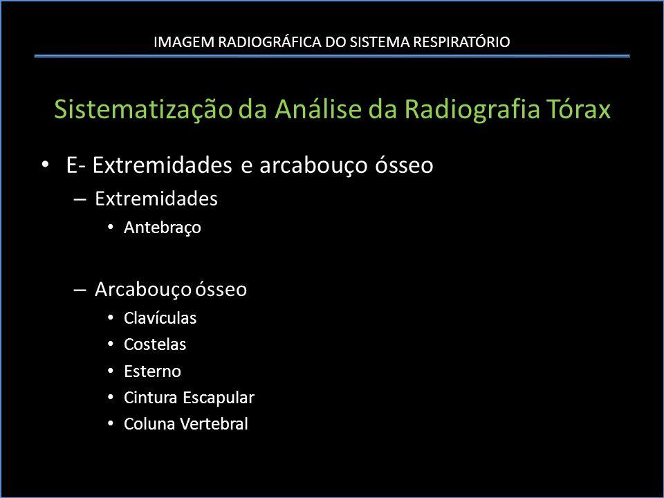 IMAGEM RADIOGRÁFICA DO SISTEMA RESPIRATÓRIO Sistematização da Análise da Radiografia Tórax E- Extremidades e arcabouço ósseo – Extremidades Antebraço