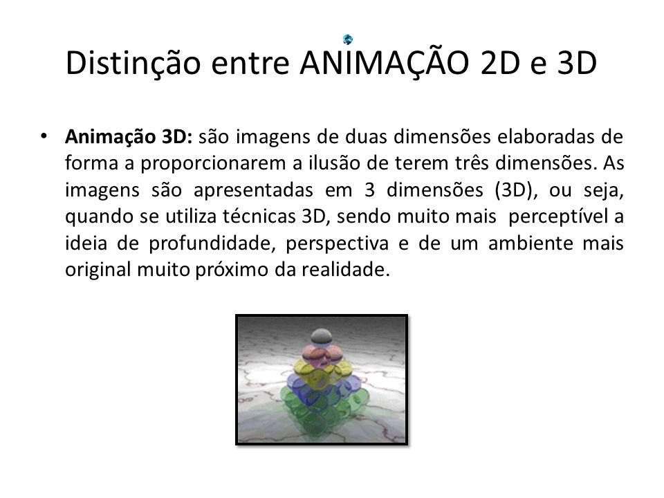 Animação 3D: são imagens de duas dimensões elaboradas de forma a proporcionarem a ilusão de terem três dimensões. As imagens são apresentadas em 3 dim