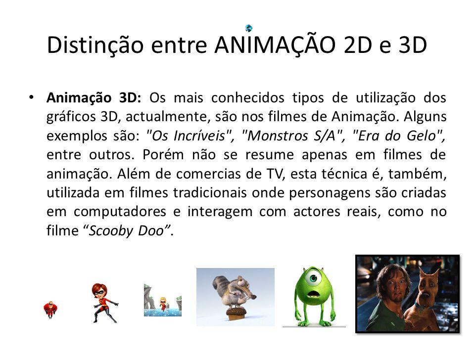 Animação 3D: Os mais conhecidos tipos de utilização dos gráficos 3D, actualmente, são nos filmes de Animação. Alguns exemplos são:
