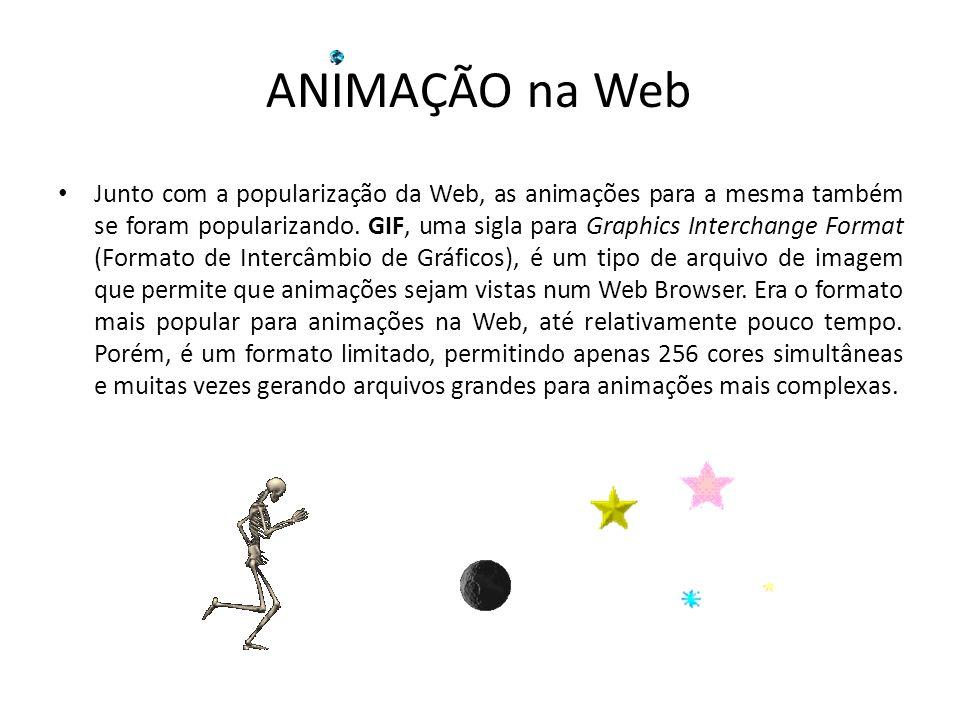 Junto com a popularização da Web, as animações para a mesma também se foram popularizando. GIF, uma sigla para Graphics Interchange Format (Formato de