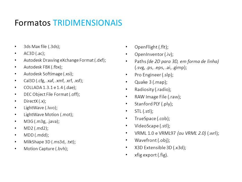 Formatos TRIDIMENSIONAIS 3ds Max file (.3ds); AC3D (.ac); Autodesk Drawing eXchange Format (.dxf); Autodesk FBX (.fbx); Autodesk Softimage (.xsi); Cal