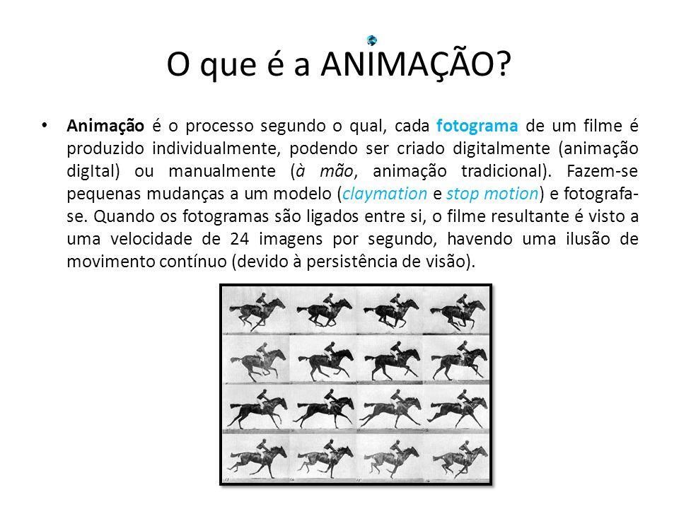 O que é a ANIMAÇÃO? Animação é o processo segundo o qual, cada fotograma de um filme é produzido individualmente, podendo ser criado digitalmente (ani