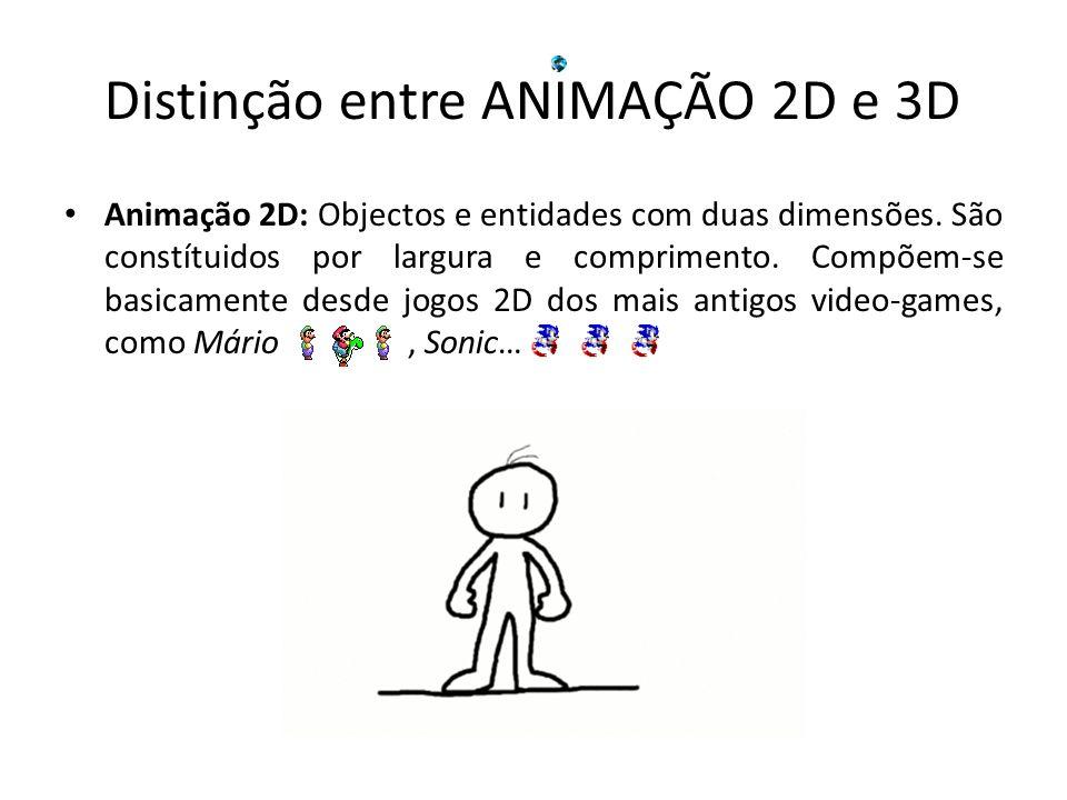 Animação 2D: Objectos e entidades com duas dimensões. São constítuidos por largura e comprimento. Compõem-se basicamente desde jogos 2D dos mais antig